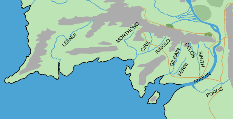 Did Maps In Middle Earth Have West: GONDOR RIVERS Location Map In Middle Earth.PNG