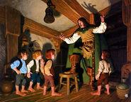 Фродо, Сэм, Мерри и Пиппен впервые встречают Арагорна в Гарцующем Пони