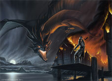 Smaug attacks laketown by tobycarr-d3kvbv9