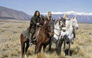 Гэндальф, Леголас и Арагорн около Эдораса