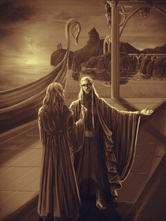 Gandalf is received by Cirdan
