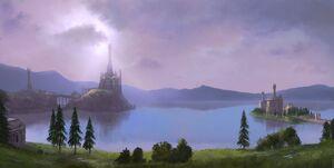 Across middle earth lake evendim by ralphdamiani