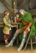 Фродо знакомится с Арагорном в Гарцующем Пони