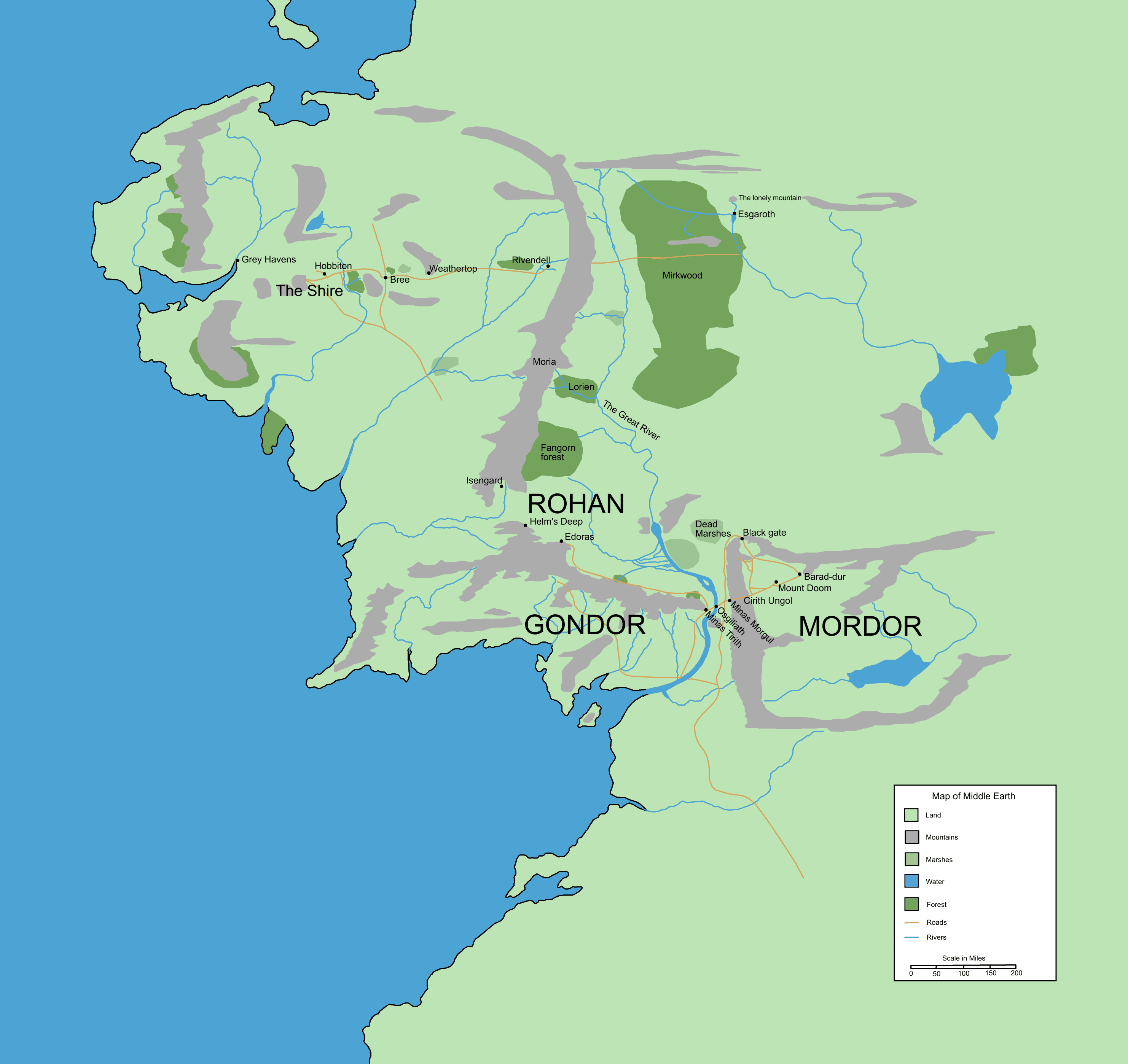 middle earth map showing prominent locationspng