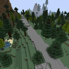 Дорога в предгорьях Мглистых гор. Обратите внимание на сглаживание земли вокруг дороги