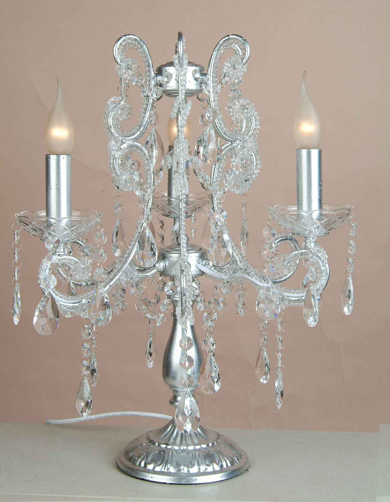 Silver 3 Branch Chandelier Table Lamp Julianne 1003 P Jpg