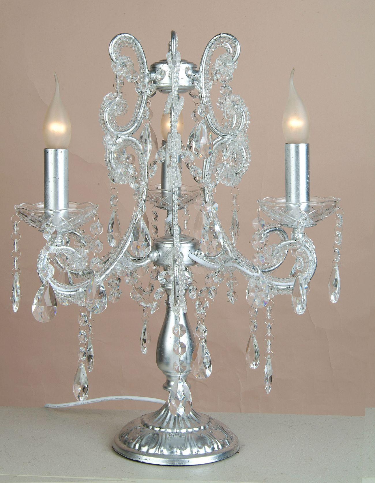 Silver 3 Branch Chandelier Table Lamp Julianne 1003 P