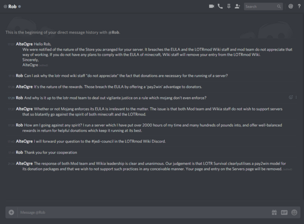 LOTR Survival - correspondence with owner Rob regarding their EULA violation