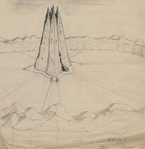 Orthanc isengard drawing sketch pencil original art jrr tolkien marquette university archive collection