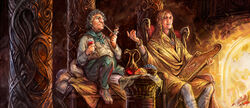 Bilbo and lindir by merlkir-d8ia30v