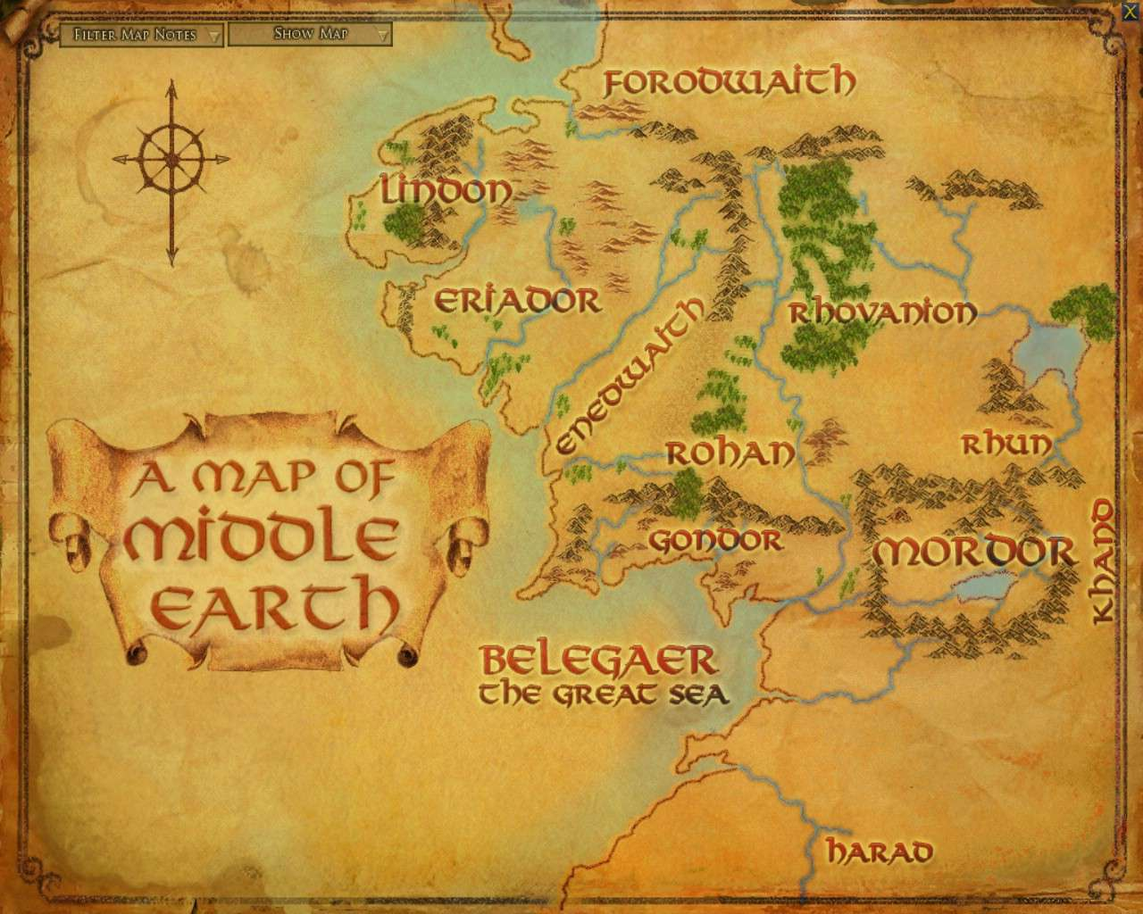Full map middle earth