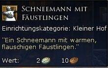 Schneemann mit Fäustlingen Tooltipp