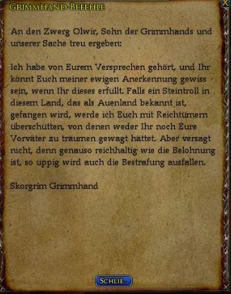 Grimmhand-Befehle Text