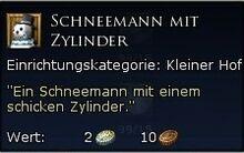 Schneemann mit Zylinder Tooltipp