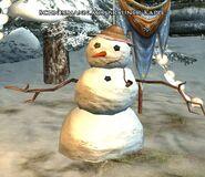 Schneemann mit Brauner Kappe