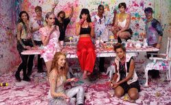 Foxes with a group on the set for the LGFT music video