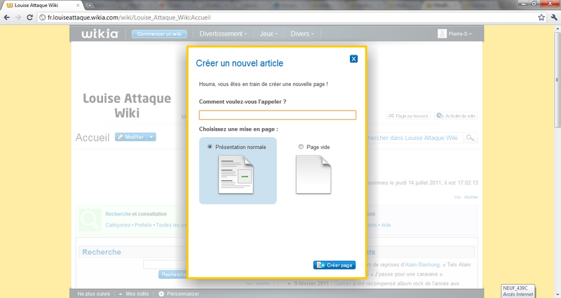 Aide creation nouvelle page