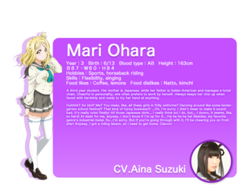 Sunshine!! translated character intro - Ohara Mari
