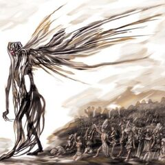 Nyarlathotep, also known as the Black Pharaoh, being worshipped by his <a href=