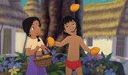 Shanti is happy and impressed Mowgli can juggle mangos