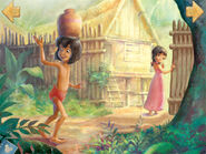 Mowgli follows Shanti to the Man Village