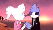 CJ and Mordecai kiss during sunrise
