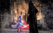 Kylo and Rey face each other