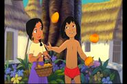 Mowgli is Juggling mangos for Shanti