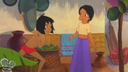 Mowgli shows Shanti a pan