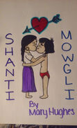 Shanti and Mowgli are both kissing
