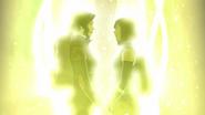 Asami and Korra holding hands