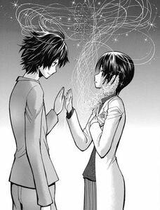 Korosensei and Aguri touch