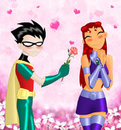 Teen Titans Robin and Starfire flower love