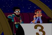Teen Titans Robin and Starfire Together in the Moonlight