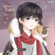 Cat and Writer close up 1