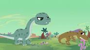 T-rex cowers away