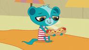Sunil with hot dog