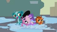 Minka slides in puddle