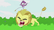 Purple Monkey jumps over Lion