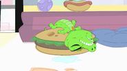 Wiggles sleeping upside down