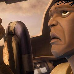 Leia Windu w trakcie spotkania z Jar Jarem.