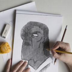 Mustafar29 ręcznie rysujący podobiznę Leii.