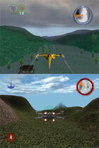 """The top half of the image depicts a yellow aircraft flying in a gloomy, swamp-like setting; shadowy, hilly terrain can be seen in the distance. The bottom half of the image depicts an """"x""""-shaped aircraft flying in a green canyon; a half-transparent pyramid can be seen in the distance."""
