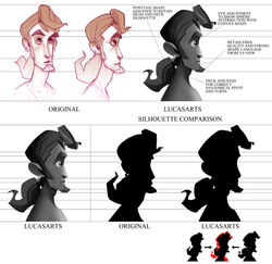 Several concept images of a man's head, with a goatee beard and a ponytail. On the top row, the image shows several refinements and changes between the initial and final designs, while the second row contrasts the silhouettes of the two versions