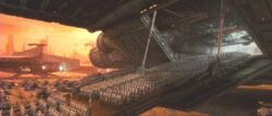 Numerous rows of soldiers walking out of a large spaceship