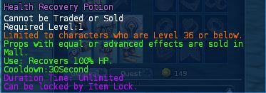 Level 01 5health recovery potions pics