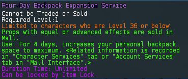 Level 24 4day backpack expansion service pics