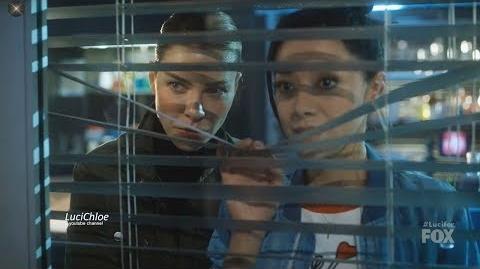 Lucifer 3x10 Chloe & Ella watching Pierce in Precinct Season 3 Episode 10 S03E10