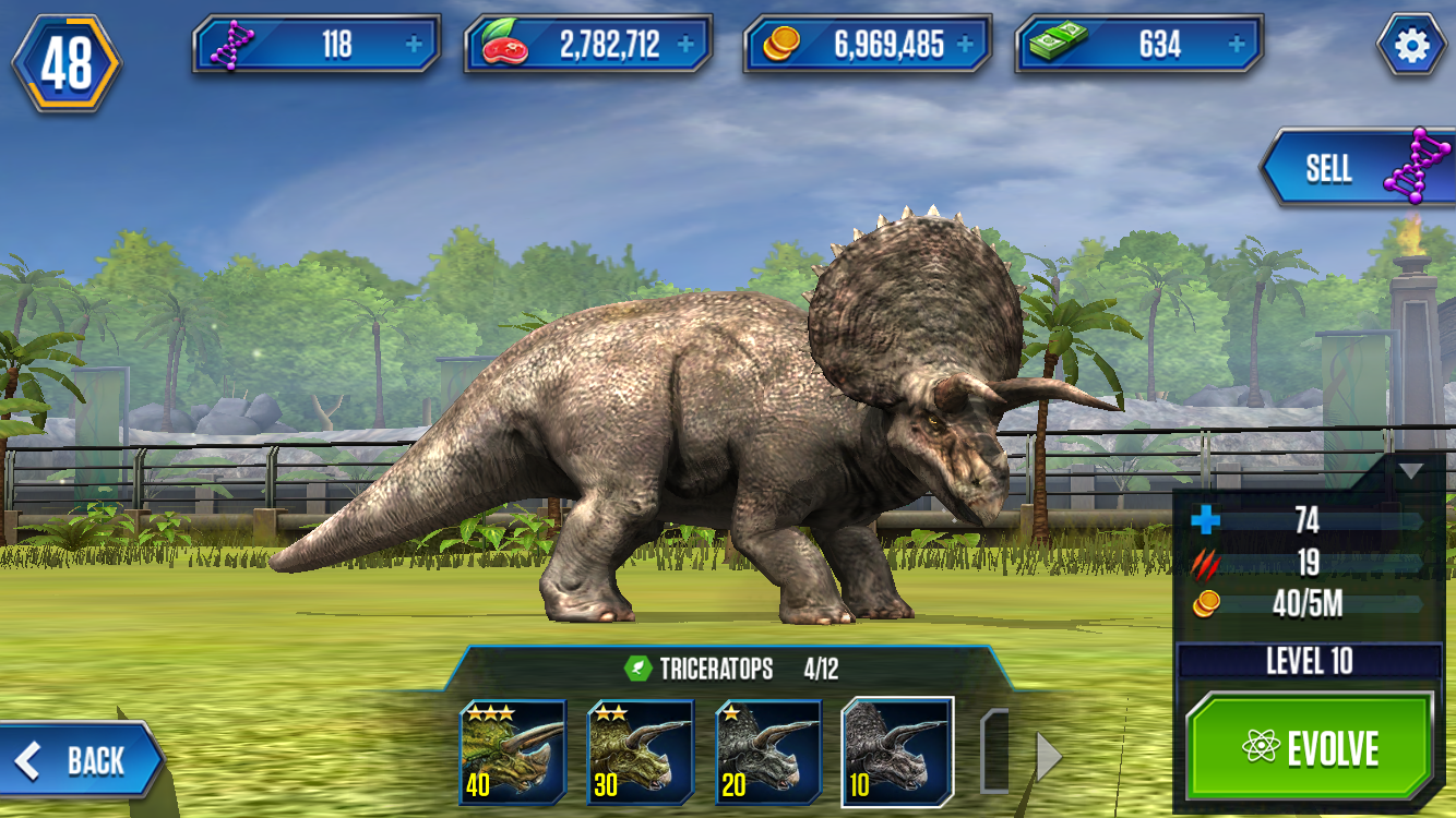 image triceratops stage 1 png ludia s jurassic world the game