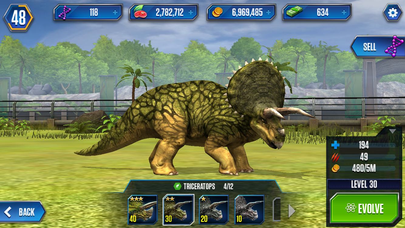 image triceratops stage 3 png ludia s jurassic world the game